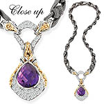 GB PD925 18K AMETHYST and WHITE SAPPHIRE NECKLACE 17""