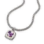 GB PD925 18K AMETHYST and WHITE SAPPHIRE NECKLACE 18""