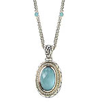 GB PD925 18K BLUE CAT'S EYE and WHITE SAPPHIRE NECKLACE 18""