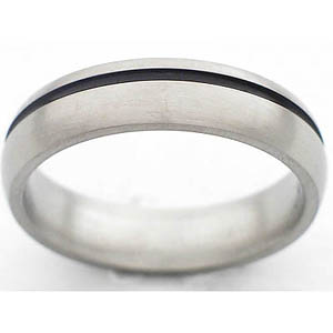 5MM DOMED TITANIUM BAND WITH (1)1MM OFF CENTER ANTIQUED GROOVE IN A POLISH FINISH