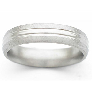 5MM DOMED TITANIUM BAND WITH ANOTHER DOME IN CENTER. POLISHED CENTER WITH STONE EDGES.