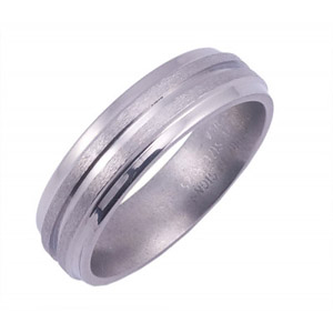6MM BEVELED TITANIUM BAND WITH(1)1MM GROOVE IN A STONE FINISH.
