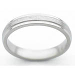 4MM FLAT TITANIUM BAND WITH GROOVED EDGES. CENTER IS A STONE FINISH AND E...