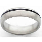 5MM DOMED TITANIUM BAND WITH (1)1MM OFF CENTER ANTIQUED GROOVE IN A POLIS...