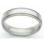 5MM DOMED TITANIUM BAND WITH (2).5MM GROOVES WITH A SATIN FINISH IN CENT...