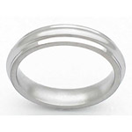 5MM DOMED TITANIUM BAND WITH GROOVED EDGES IN A SATIN FINISH.