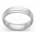 5MM FLAT TITANIUM BAND WITH GROOVED EDGES IN A STONE FINISH.
