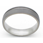 6MM DOMED TITANIUM BAND WITH(1)1MM OFF CENTER GROOVE IN A SANDBLAST FINI...