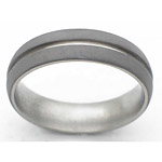 6MM DOMED TITANIUM BAND WITH (1)1MM GROOVE AND SANDBLAST FINISH.