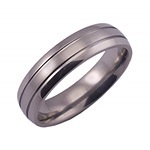 6MM DOMED TITANIUM BAND WITH (2).5MM GROOVE AND A SATIN FINISH.
