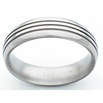 6MM DOMED TITANIUM BAND WITH (3).5MM GROOVES AND A POLISHED FINISH.