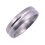6MM DOMED TITANIUM BAND WITH A CONCAVE CENTER. IT HAS A POLISHED CENTER A...