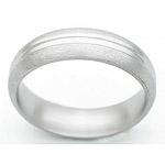 6MM DOMED TITANIUM BAND WITH ANOTHER DOME IN CENTER. CENTER DOME IS POLIS...