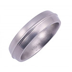 6MM DOMED TITANIUM BAND WITH A RAISED DOME IN CENTER. CENTER DOME IS POLIS...
