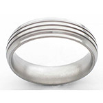 6MM DOMED TITANIUM BAND WITH GROOVED EDGES. IT HAS (3).5MM GROOVES AND I...