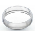 6MM DOMED TITANIUM BAND WITH GROOVED EDGES IN A POLISH FINISH.