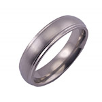 6MM DOMED TITANIUM BAND WITH GROOVED EDGES IN A SATIN FINISH.