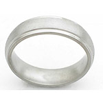 6MM DOMED TITANIUM BAND WITH GROOVED EDGES IN A STONE FINISH.