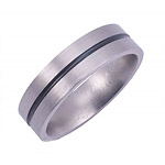 6MM FLAT TITANIUM BAND WITH(1)1MM ANTIQUED GROOVE IN A SATIN FINISH.