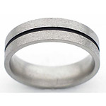 6MM FLAT TITANIUM BAND WITH(1)1MM ANTIQUED GROOVE IN A STONE FINISH.
