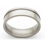 6MM FLAT TITANIUM BAND WITH(1)1MM OFF CENTER GROOVE IN A SATIN FINISH.