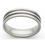 6MM FLAT TITANIUM BAND WITH(2)1MM GROOVES IN A SATIN FINISH.