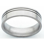 6MM FLAT TITANIUM BAND WITH (2).5MM OFF CENTER GROOVES IN A SATIN FINIS...