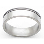 6MM FLAT TITANIUM BAND WITH(2).5MM OFF CENTER GROOVES. THE SMALL SIDE IS ...