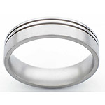 6MM FLAT TITANIUM BAND WITH(2).5MM OFF CENTER GROOVES. THE LARGER POTION ...