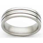 6MM FLAT TITANIUM BAND WITH (2).5MM GROOVES. THE CENTER IS SATIN AND THE...