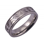 6MM FLAT TITANIUM BAND WITH(2).5MM GROOVES AND WAVE TOOLING IN A POLISH...