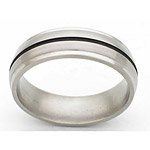 7MM DOMED TITANIUM BAND WITH GROOVED EDGES AND(1)1MM ANTIQUED GROOVE IN ...