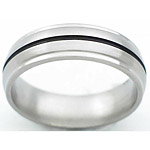 7MM DOMED TITANIUM BAND WITH GROOVED EDGES AND (1) 1MM ANTIQUED GROOVE. T...