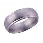 7MM DOMED TITANIUM BAND WITH GROOVED EDGES IN A SATIN FINISH.