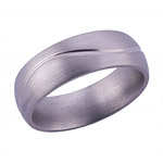 7MM DOMED TITANIUM BAND WITH HALF INFINITY TOOLING IN A SATIN FINISH.