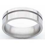 7MM FLAT TITANIUM BAND WITH(1)1MM OFF CENTER GROOVE IN A POLISH FINISH.