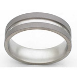 7MM FLAT TITANIUM BAND WITH(1)2MM GROOVE IN A SANDBLAST FINISH.