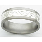 7MM FLAT TITANIUM BAND WITH ANGLED TOOLING. THE CENTER IS A POLISH FINISH...