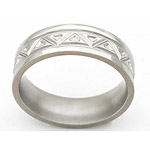 7MM FLAT TITANIUM BAND WITH ANGLED TOOLING. THE CENTER IS A SATIN FINISH ...