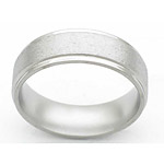 7MM FLAT TITANIUM BAND WITH GROOVED EDGES IN A STONE FINISH.