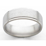 7MM FLAT TITANIUM BAND WITH GROOVED EDGES. THE CENTER IS A STONE FINISH AN...