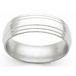 7MM FLAT TITANIUM BAND WITH A DOUBLE GROOVED EDGE IN A POLISH FINISH.