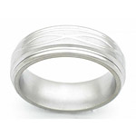 7MM FLAT TITANIUM BAND WITH ROUNDED EDGES AND INFINITY TOOLING IN A SATIN...