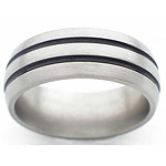 8MM DOMED TITANIUM BAND WITH (2)1MM ANTIQUED GROOVES IN A SATIN FINISH.