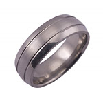 8MM DOMED TITANIUM BAND WITH(2).5MM GROOVES. IT HAS A SATIN FINISH CENT...