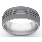 8MM DOMED TITANIUM BAND WITH(3).5MM GROOVES IN A SANDBLAST FINISH.