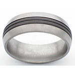 8MM DOMED TITANIUM BAND WITH(3).5MM GROOVES THAT ARE SANDBLAST AND POLI...