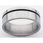 8MM FLAT TITANIUM BAND WITH(1)1MM OFF CENTER ANTIQUED GROOVE IN A POLISH...