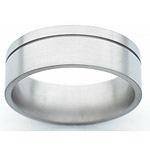 8MM FLAT TITANIUM BAND WITH (1).5MM OFF CENTER GROOVE IN A SATIN FINISH...