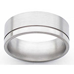 8MM FLAT TITANIUM BAND WITH(1).5MM OFF CENTER GROOVE. THE LARGE EDGE IS ...